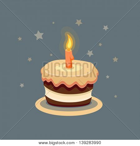 Cartoon birthday cake flat icon with one year candle and stars on night background