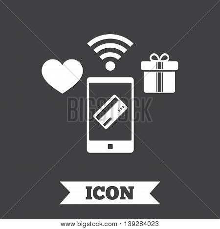 Wireless mobile payments icon. Smartphone, credit card and gift symbol. Graphic design element. Flat mobile payments symbol on dark background. Vector