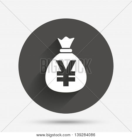 Money bag sign icon. Yen JPY currency symbol. Circle flat button with shadow. Vector