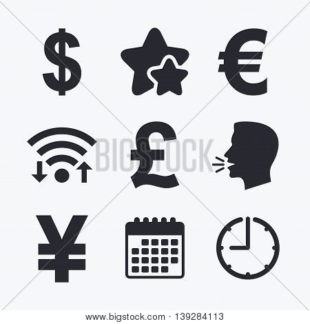 Dollar, Euro, Pound and Yen currency icons. USD, EUR, GBP and JPY money sign symbols. Wifi internet, favorite stars, calendar and clock. Talking head. Vector