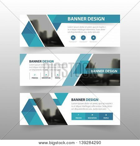 Blue triangle abstract polygon corporate business banner template horizontal advertising business banner layout template flat design set clean abstract cover header background for website design