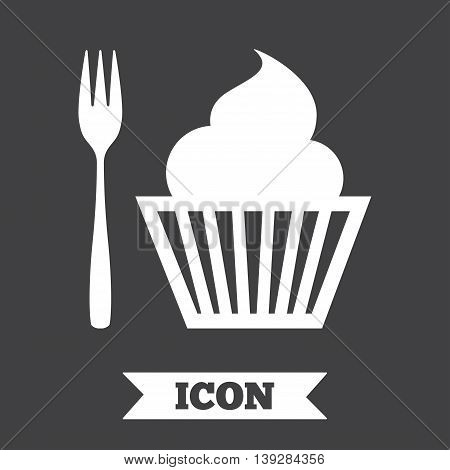 Eat sign icon. Dessert trident fork with muffin. Cutlery symbol. Graphic design element. Flat dessert symbol on dark background. Vector