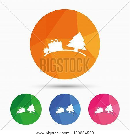 Happy new year sign icon. Gifts anf tree. Triangular low poly button with flat icon. Vector