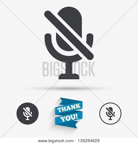 No Microphone sign icon. Speaker symbol. Flat icons. Buttons with icons. Thank you ribbon. Vector