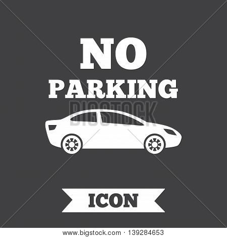 No parking sign icon. Private territory symbol. Graphic design element. Flat no parking symbol on dark background. Vector