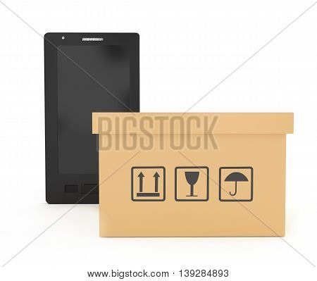 3D Smartphone With Cardboard Boxe With Logistics Instruction Signs Concept