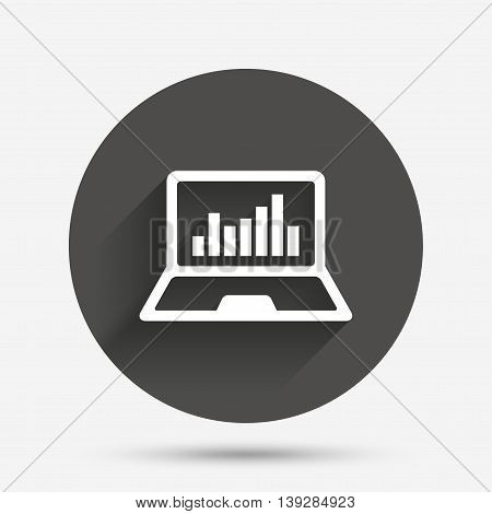 Laptop sign icon. Notebook pc with graph symbol. Monitoring. Circle flat button with shadow. Vector