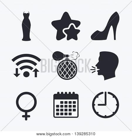 Wedding dress icon. Women shoe sign. Perfume glamour fragrance symbol. Wifi internet, favorite stars, calendar and clock. Talking head. Vector