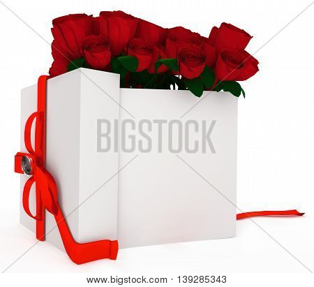 3D Opened Gift With Bunch Of Roses In It Concept