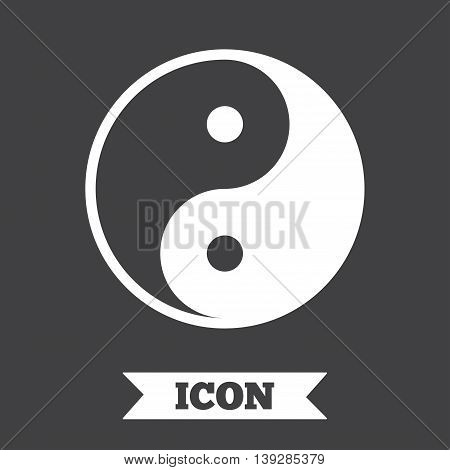 Ying yang sign icon. Harmony and balance symbol. Graphic design element. Flat ying yang symbol on dark background. Vector