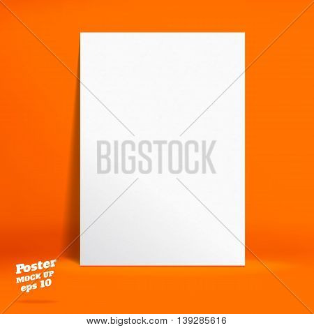 Vector : White Paper Poster In Vivid Orange Studio Room, Template Mock Up For Display Of Product Or