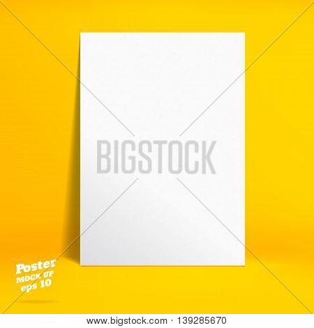Vector : White Paper Poster In Vivid Yellow Studio Room, Template Mock Up For Display Of Product Or
