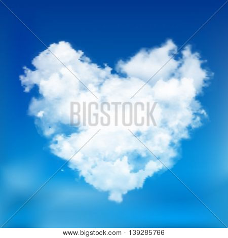 Realistic vector cloud heart with sun. Blue sky background.