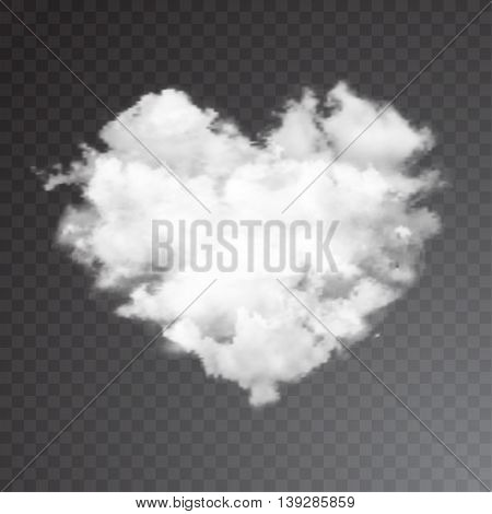 Realistic vector cloud heart with sun. sky background.