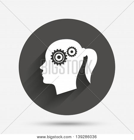 Head with gears sign icon. Female woman human head think symbol. Circle flat button with shadow. Vector