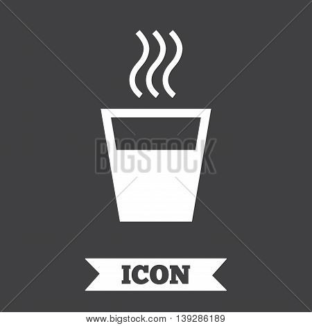 Hot water sign icon. Hot drink glass symbol. Graphic design element. Flat hot drink symbol on dark background. Vector