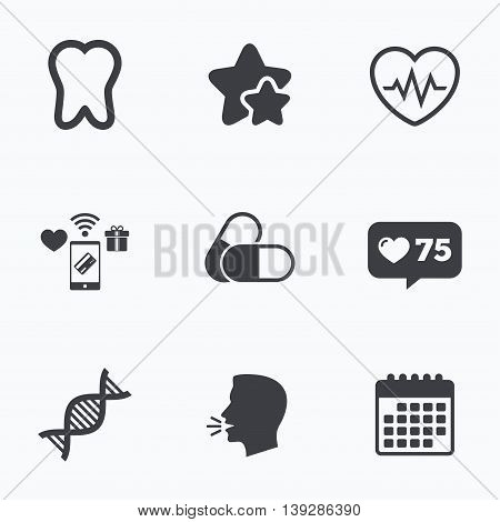Maternity icons. Pills, tooth, DNA and heart cardiogram signs. Heartbeat symbol. Deoxyribonucleic acid. Dental care. Flat talking head, calendar icons. Stars, like counter icons. Vector