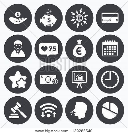Calendar, wifi and clock symbols. Like counter, stars symbols. Money, cash and finance icons. Piggy bank, credit card and auction signs. Presentation, pie chart and businessman symbols. Talking head, go to web symbols. Vector