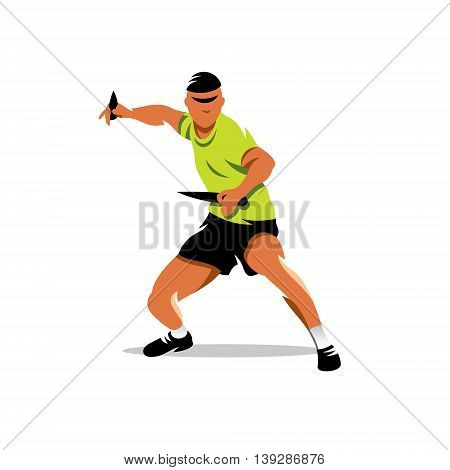 Man with two knifes in a typical rack for throwing at a target. Isolated on a white background