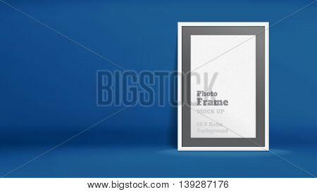 Vector, Blank Photo Frame In Navy Blue Studio Room, Template Mock Up For Display Or Montage Of Your