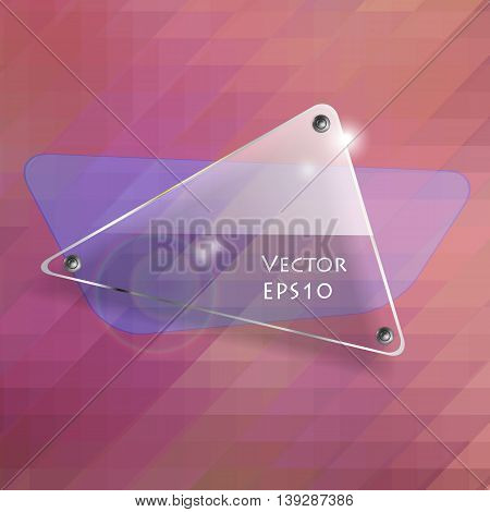 glass transparent vector banner over mosaic background. Bright vector design elements. Eps10 vector illustration
