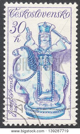 MOSCOW RUSSIA - JANUARY 2016: a post stamp printed in CZECHOSLOVAKIA shows a horsemann statue the series