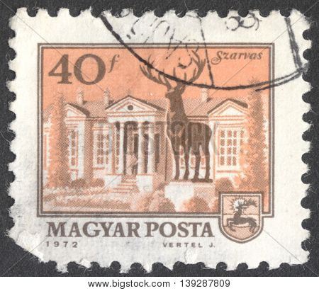 MOSCOW RUSSIA - CIRCA JANUARY 2016: a post stamp printed in HUNGARY shows the central square of Szarvas the series