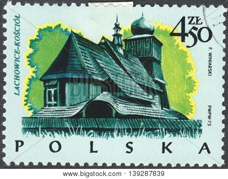 MOSCOW RUSSIA - JANUARY 2016: a post stamp printed in POLAND shows a traditional Polish building the series