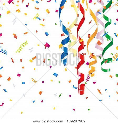 Colorful streamer and confetti on a white background