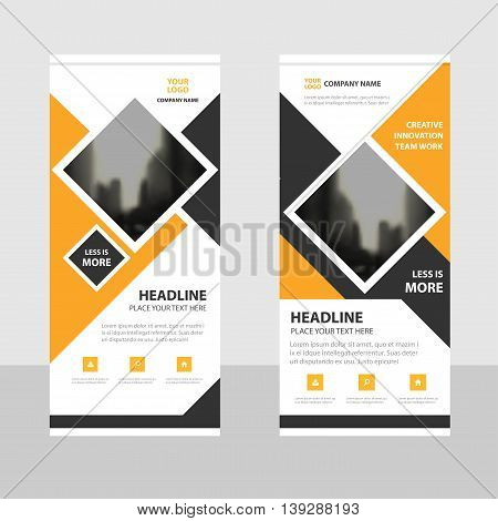 Yellow square Business Roll Up Banner flat design template Abstract Geometric banner template Vector illustration set abstract presentation brochure flyer template vertical template vector
