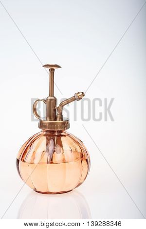 Vintage Perfume Bottle With Atomizer Isolated On White Background