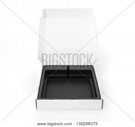 Blank white box mock up on white  background