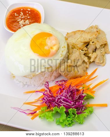 korean marinated grilled pork with rice and egg