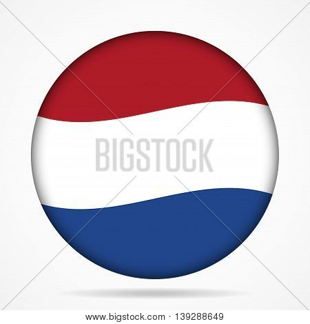 button with waving national flag of Netherlands and shadow