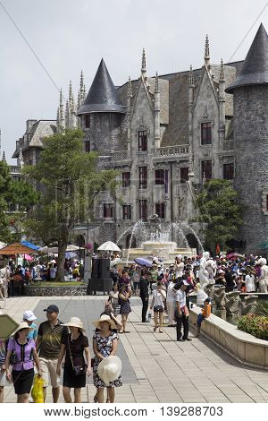 Da Nang, Vietnam - Jun 20, 2016: Tourist visiting Ba Na Hills mountain resort. The resort is held and managed by one of the biggest Vietnamese corporation, Sun Group.