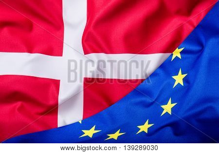 Flags of the Denmark and the European Union. Denmark Flag and EU Flag. World flag money concept.