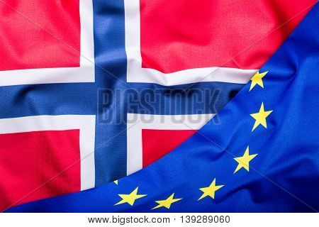 Flags of the Norway and the European Union. Norway Flag and EU Flag. World flag money concept.