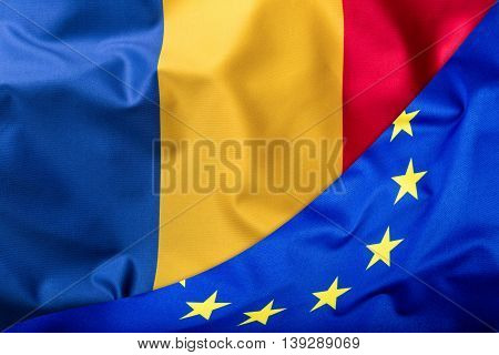 Flags of the Romania and the European Union. Romanian Flag and EU Flag. World flag money concept.