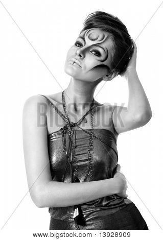 Portrait of beautiful woman with silver bodyart - bw image
