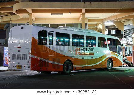 CHIANGMAI THAILAND -JULY 18 2016: New Scania bus of Prempracha company. Route Mae hong son and Chiangmai. Photo at Chiangmai bus station thailand.