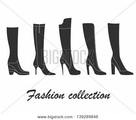 Fashion collection of women`s boots. Vector illustration of elegant women`s shoes with high heels.