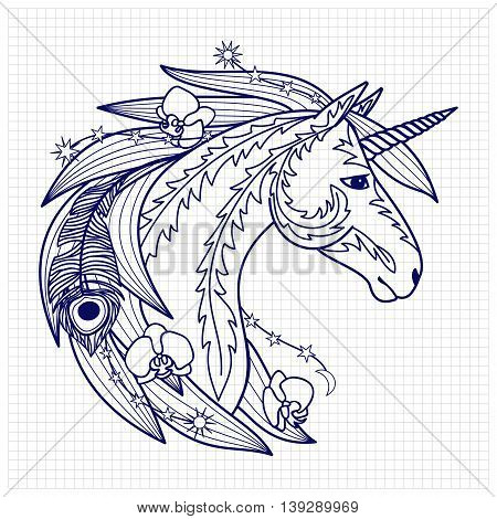 Unicorn with decorative elements. Fairy tale character. Fictional animal on squared paper