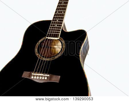 body of acoustic guitar on white background