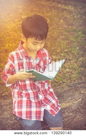 Happy Asian Boy Reading A Book. Education Concept. Vintage Style.