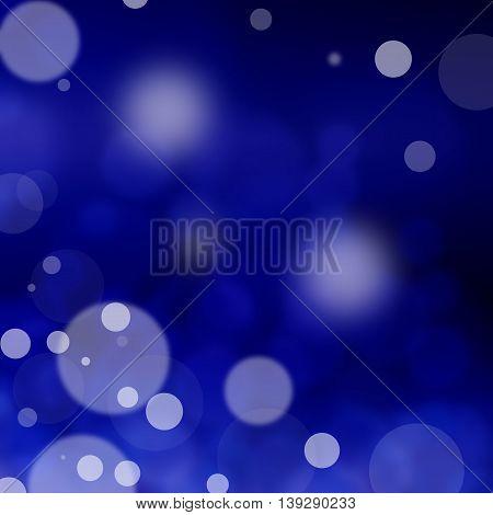 Lights on blue background bokeh effect, blur.