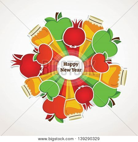 happy Rosh Hashanah, Jewish holiday. apples, pomegranates and honey as a symbols for Jewish new year. vector illustration