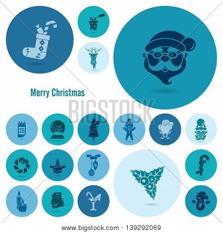 Christmas and Winter Icons Collection. Monochrome color. Simple and Minimalistic Style. Vector