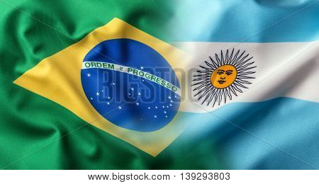 Flags of the Brasil and the Argentina. World flag money concept.