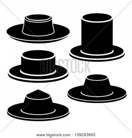 hat black icon vector