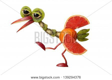 Funny walking fruit heron on isolated background